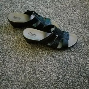Clark's sandal slip on wedge heels